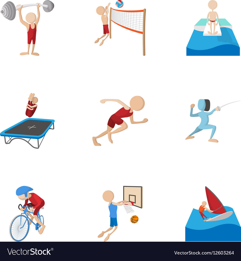 Professional sports icons set cartoon style vector image