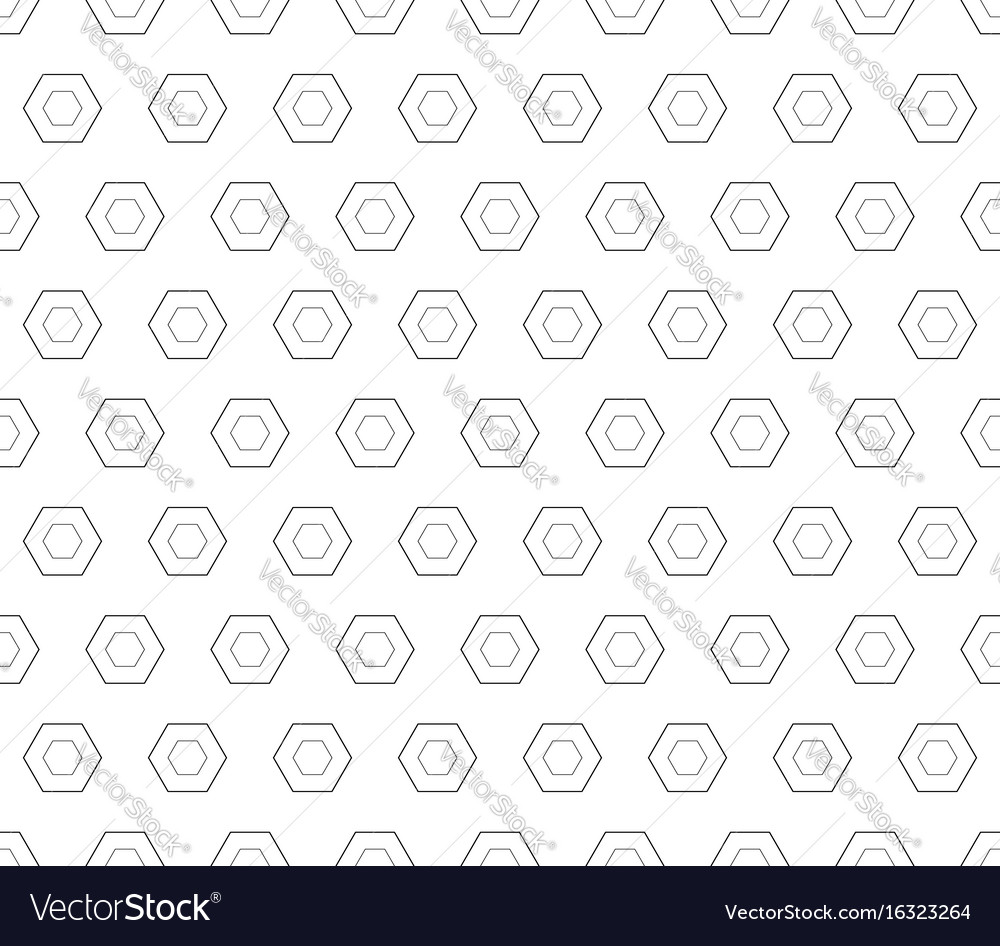Seamless pattern black linear hexagons vector image