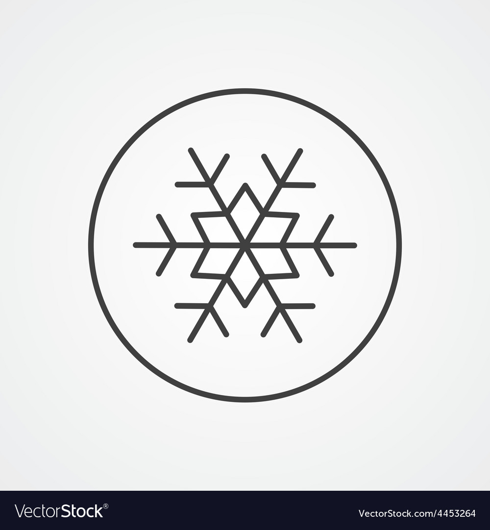 Snowflake outline symbol dark on white background vector image