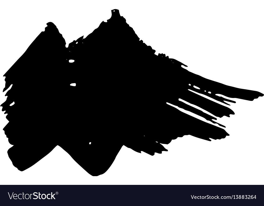 Zigzag black ink dry brush stroke vector image