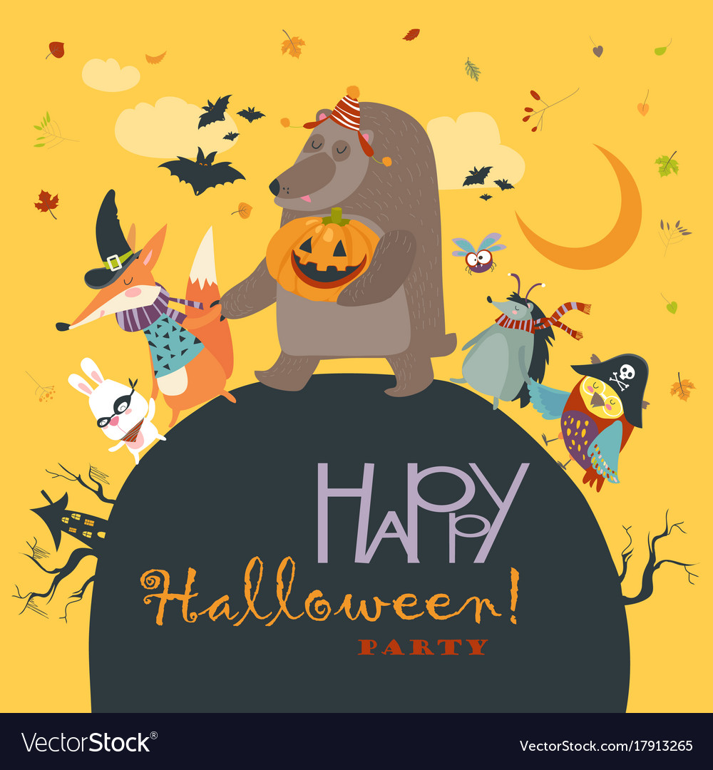 Animals celebrating halloween vector image