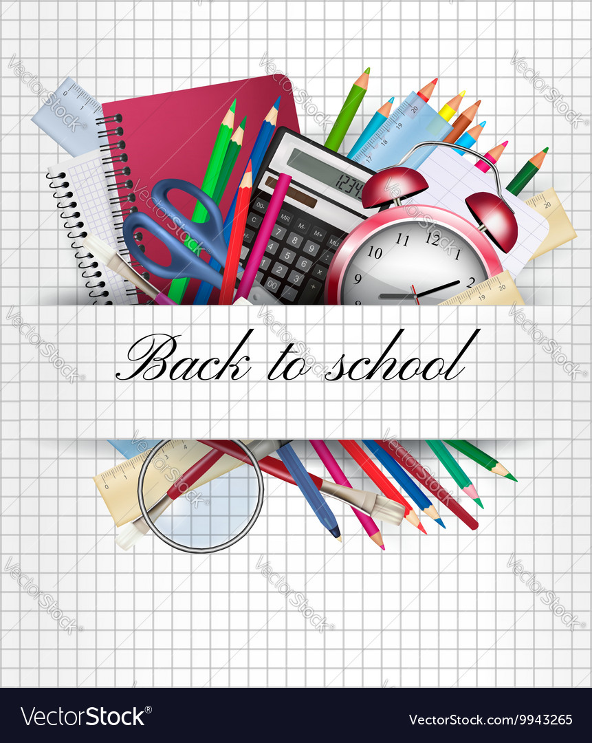 Back to school Background with supplies vector image