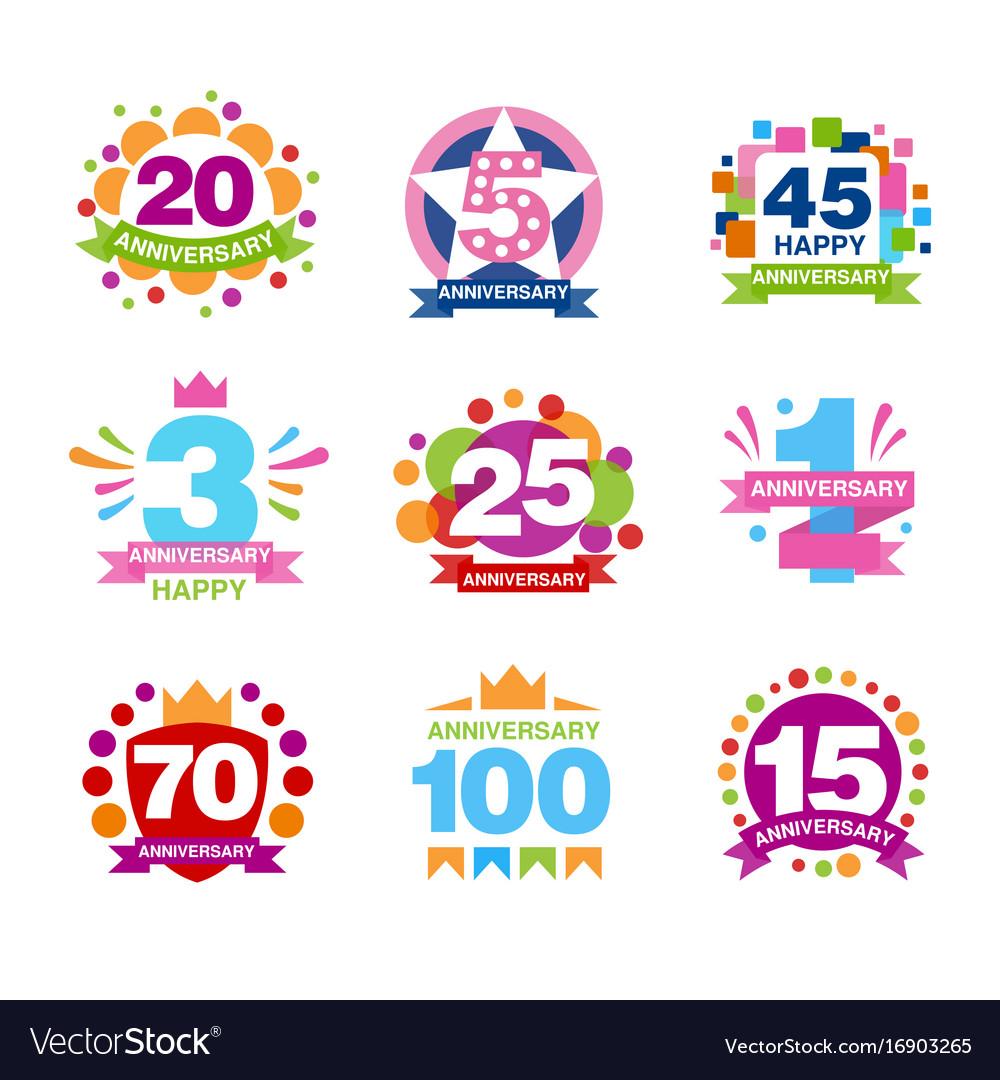 Colorful anniversary birthdays festive signs set vector image