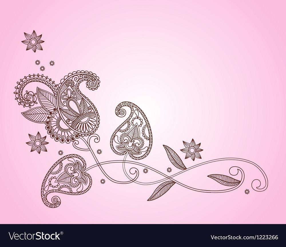 Henna mendi floral pattern vector image