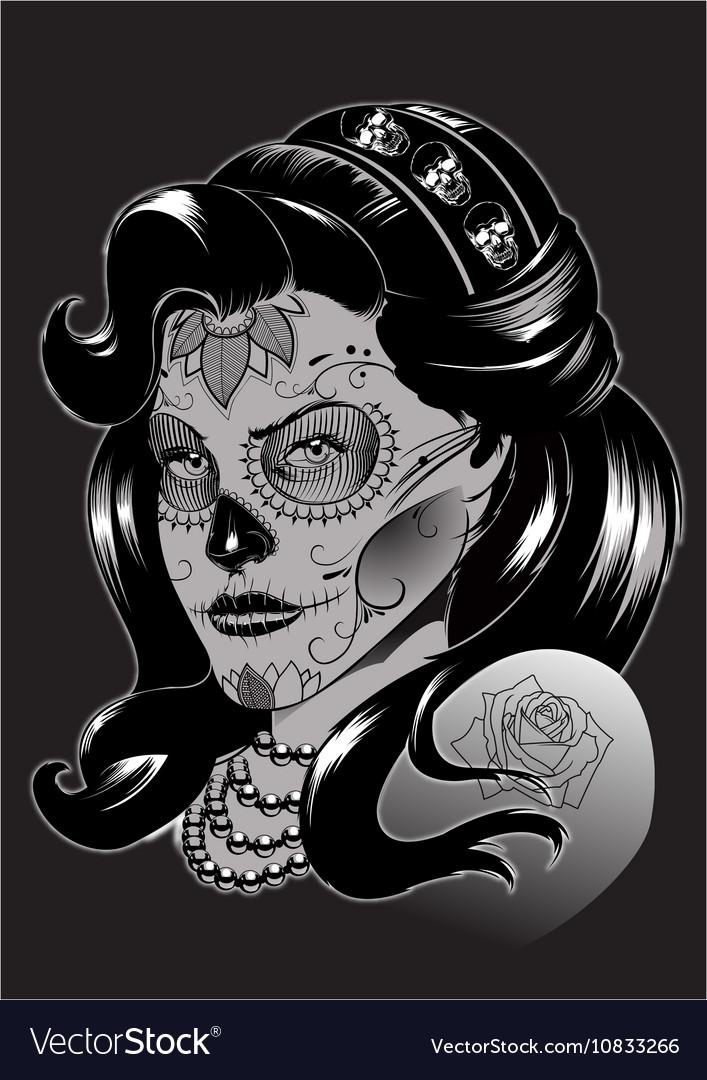 La catrina Sugar skull vector image
