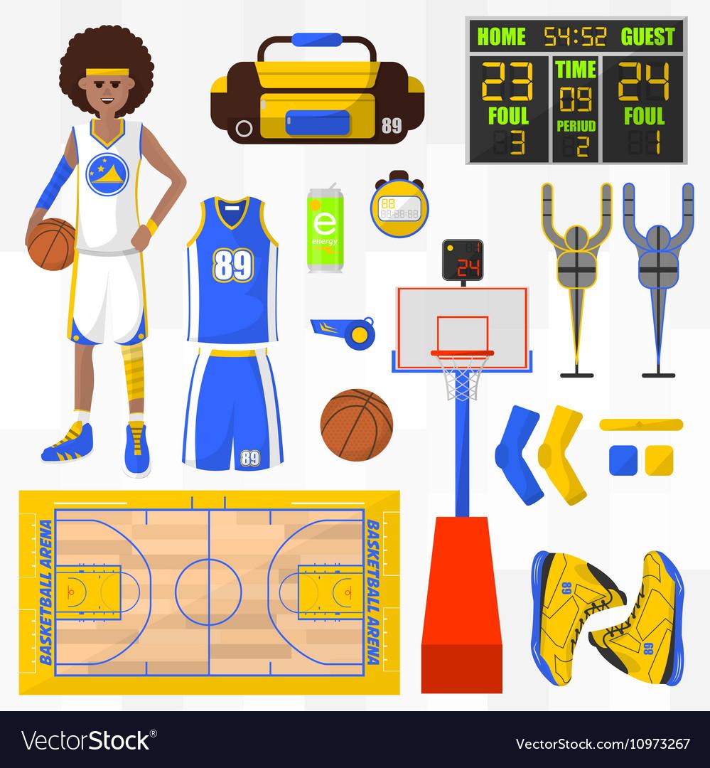 Set of basketball elements vector image