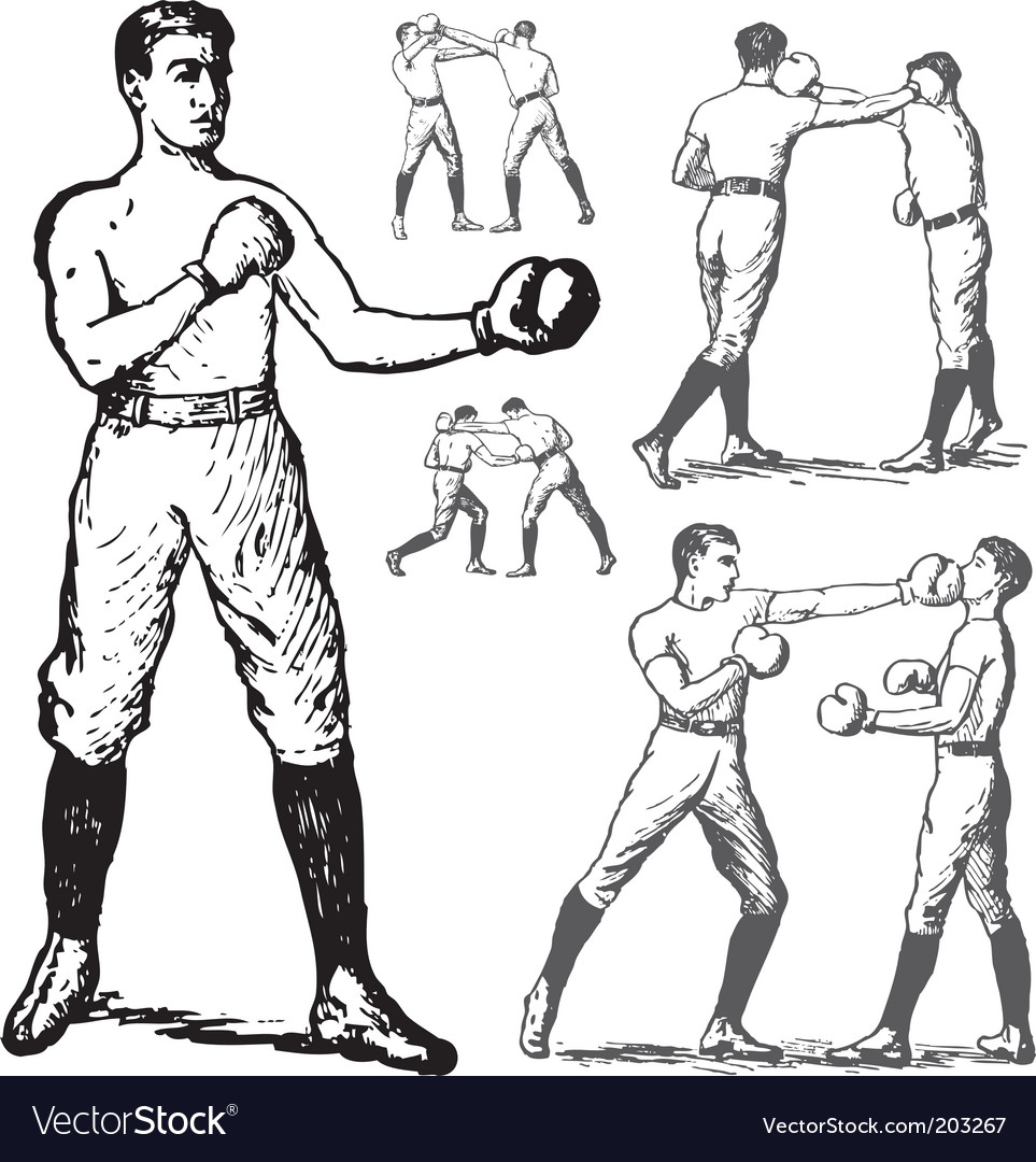 Vintage boxing poses vector image