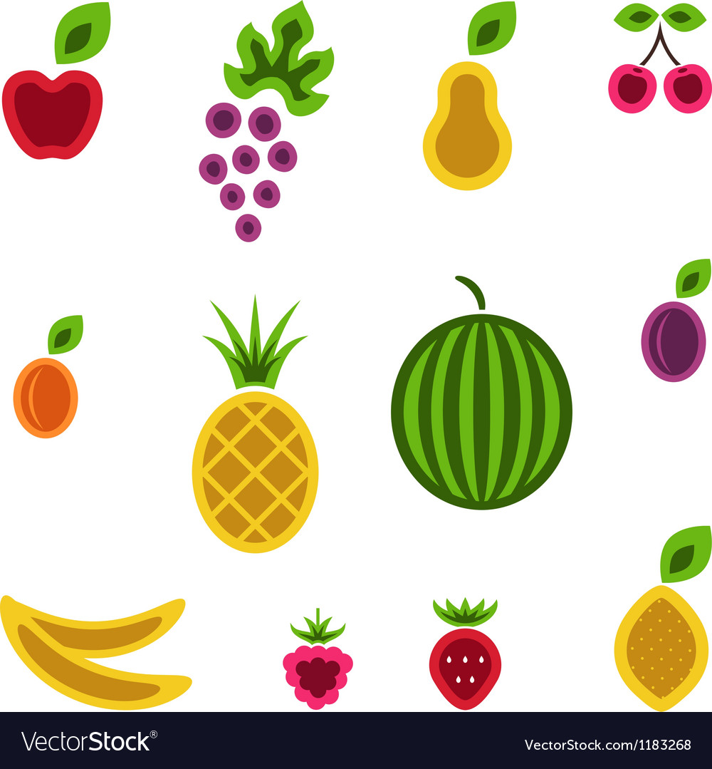 Fruits and berries set vector image