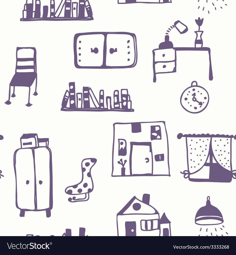 Furniture set seamless pattern vector image