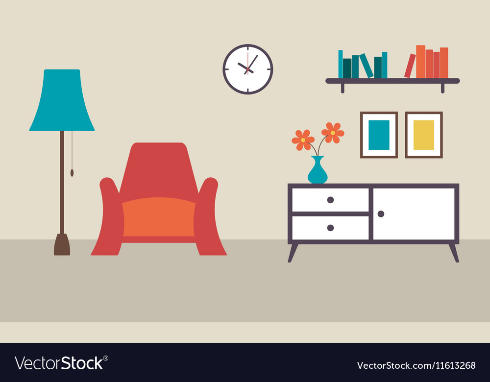 Living room with furniture interior flat design vector image
