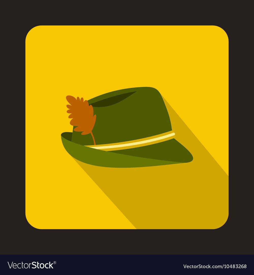 Oktoberfest tirol hat icon flat style vector image