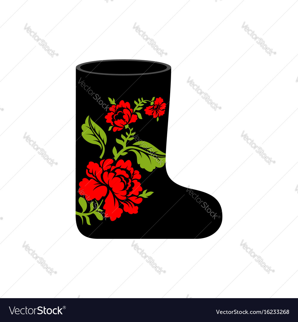 Russian winter boots valenki khokhloma painting vector image