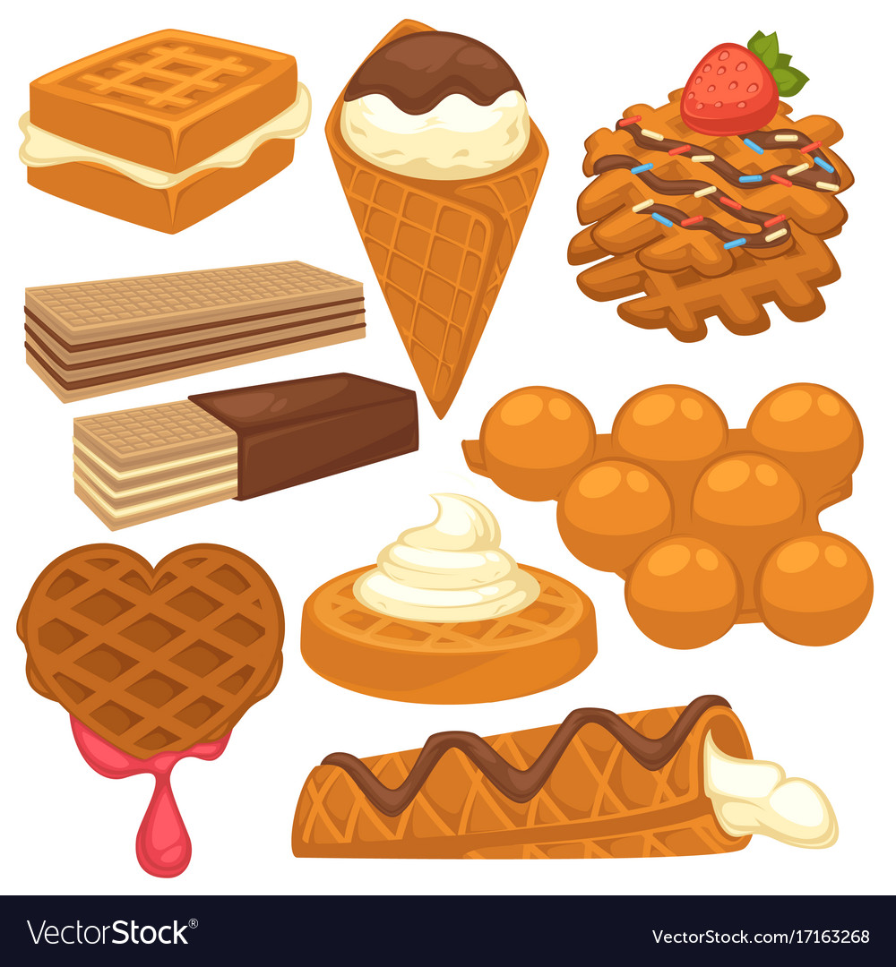 Sweet treats with delicious waffles isolated vector image