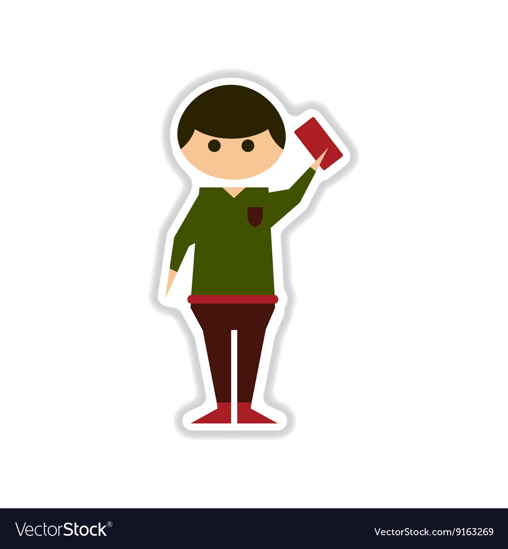 Paper sticker on white background referee