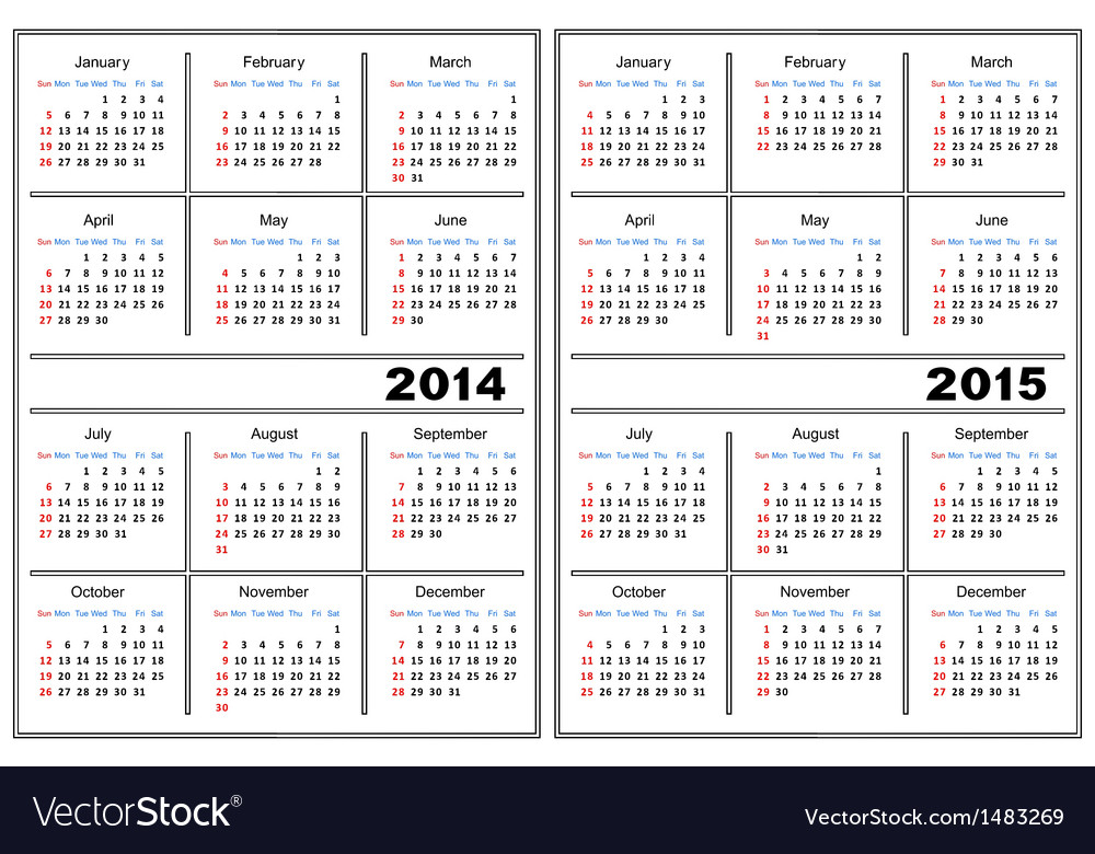Calendar Template 2014 2015 Royalty Free Vector Image