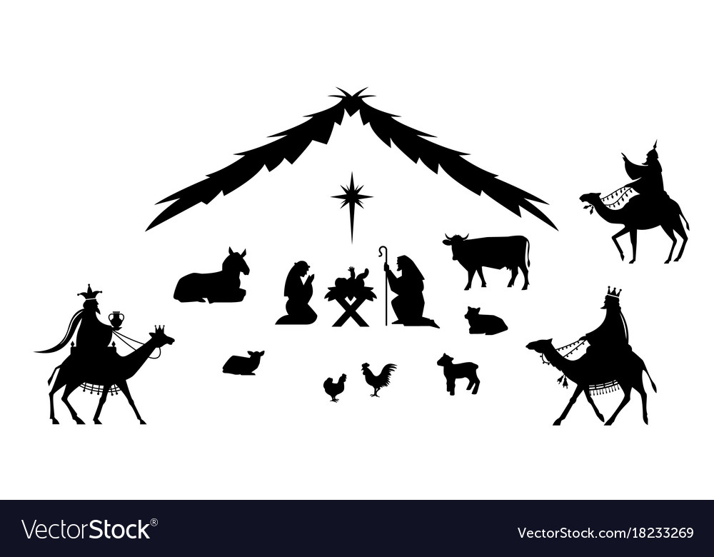 Traditional christmas scene vector image