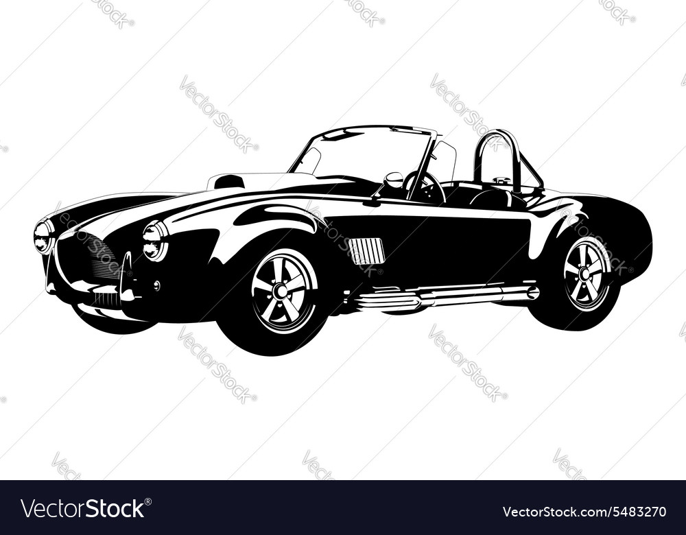 Silhouette classic sport car ac shelby cobra Vector Image
