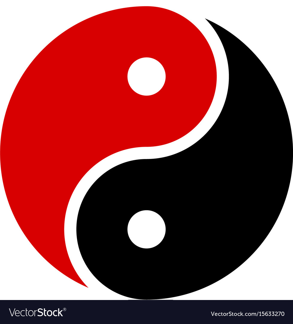 yin yang icon harmony symbol red and black vector image rh vectorstock com Cool Yin Yang Designs Yin Yang Border