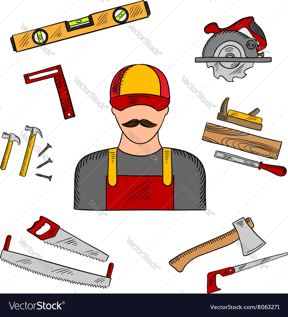 Carpenter profession and tools icons vector image