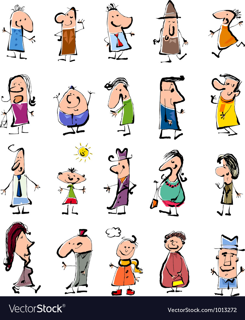 Doodle people cartoon set royalty free vector image
