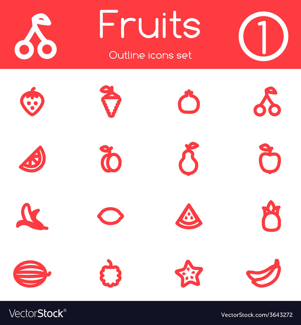 Fruits outline icons vector image