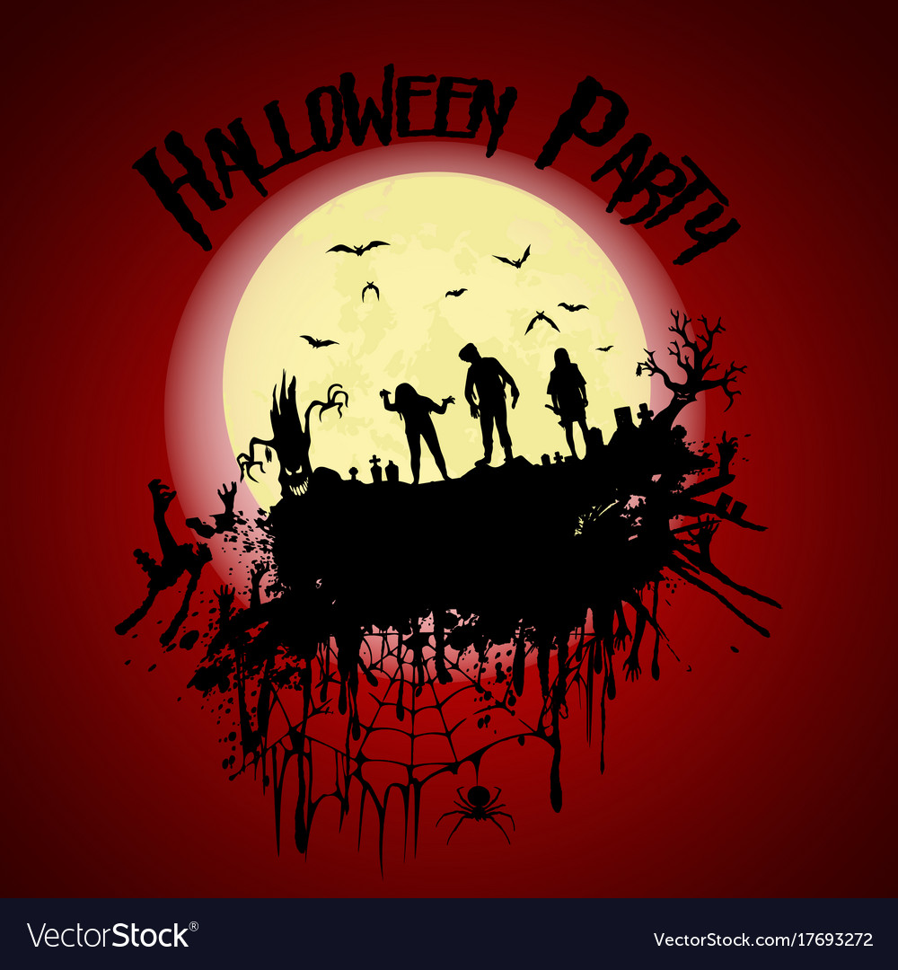 Halloween partyzombie cemetery creepy trees and a vector image