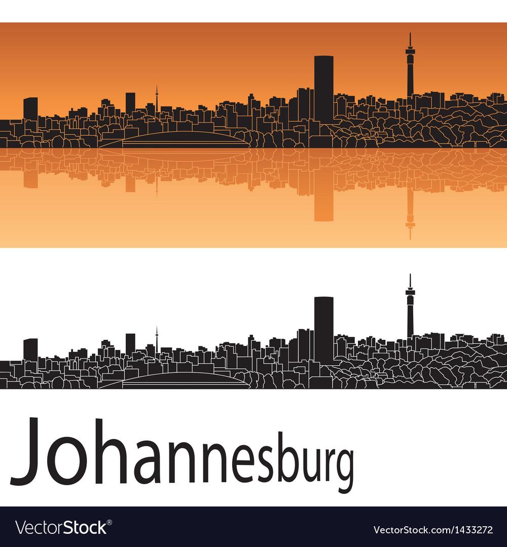 Johannesburg skyline in orange background vector image thecheapjerseys Images