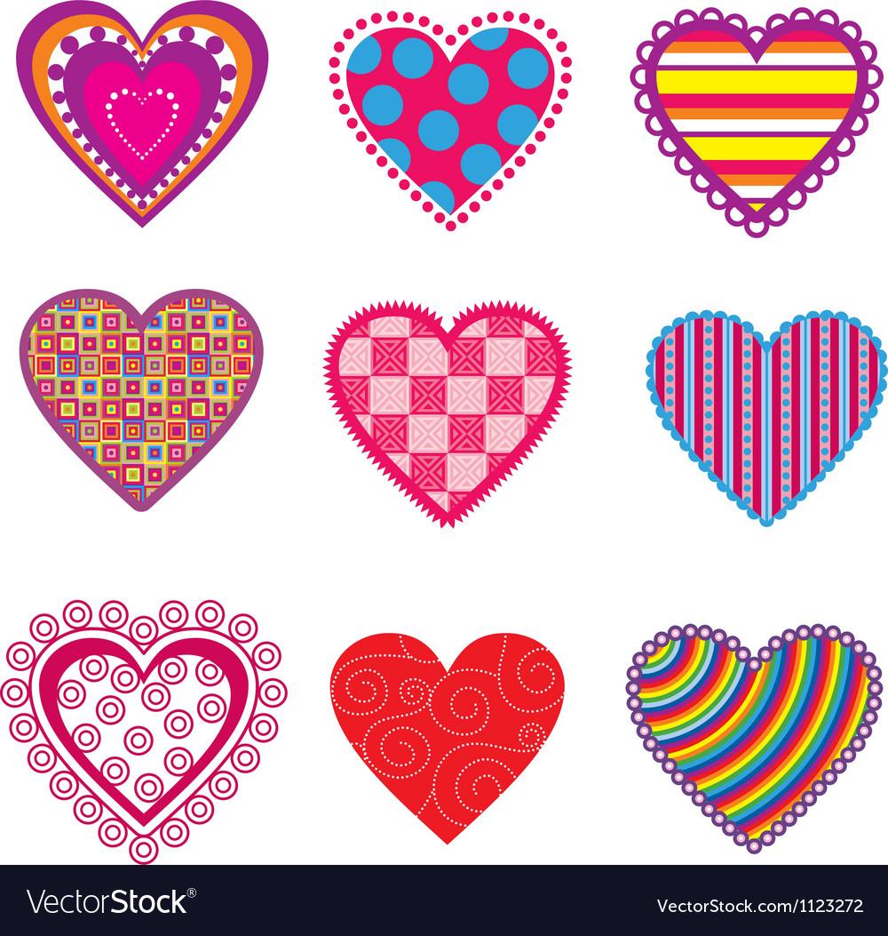 Set of multicolor hearts vector image