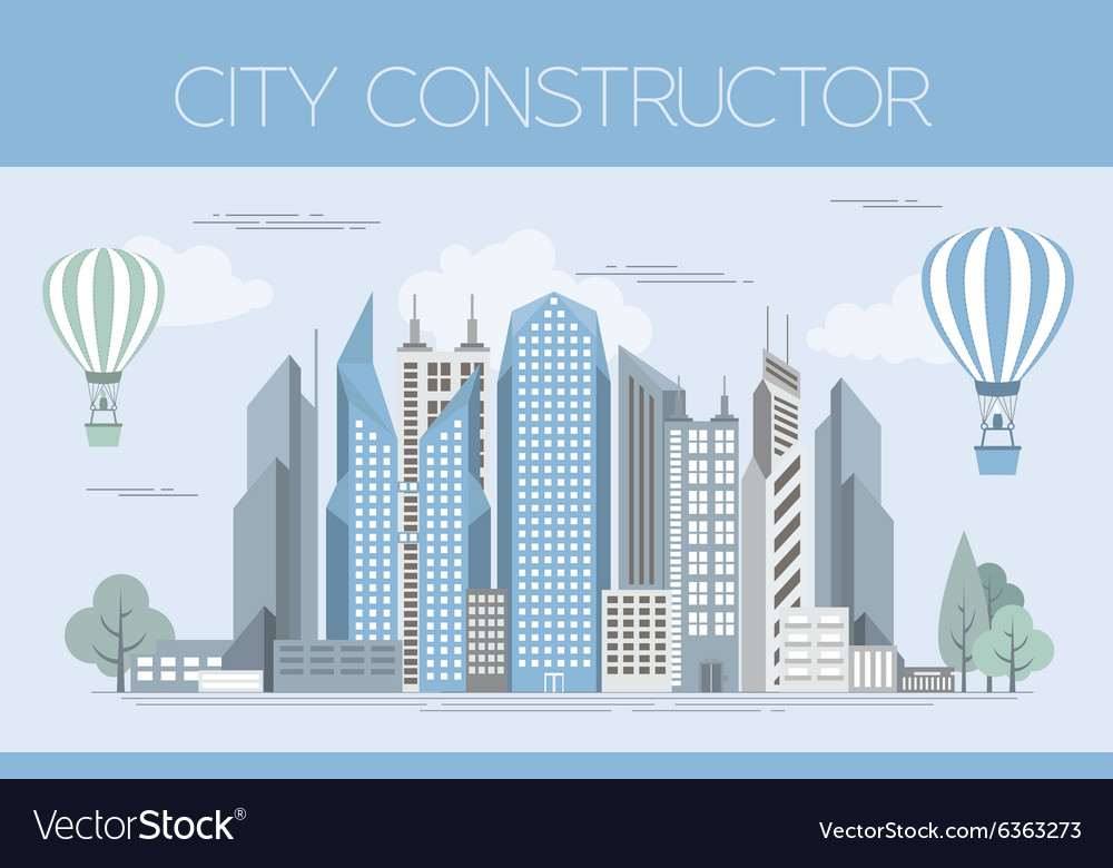 great city map creator colour version house vector image - House Map Creator