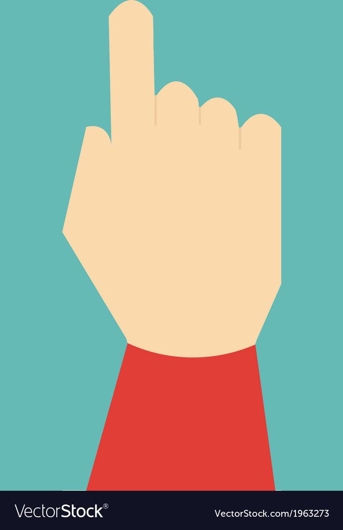 Hand press button flat design vector image
