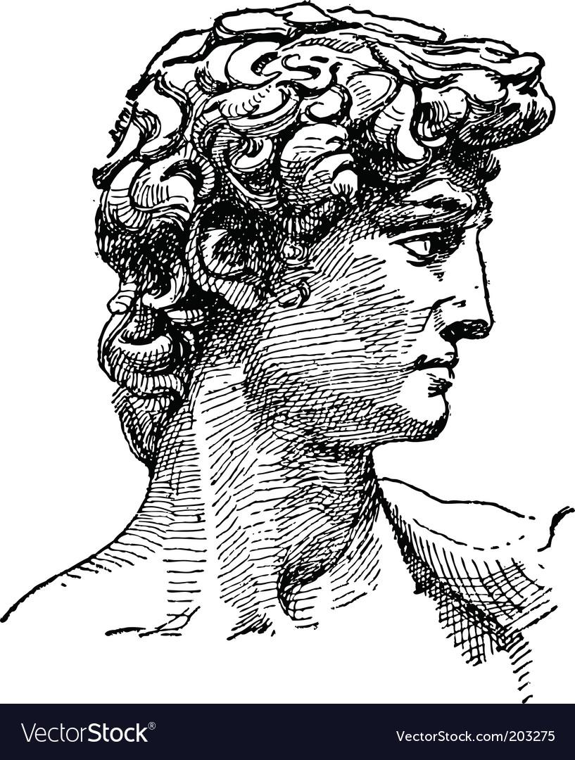 Michelangelo david sketch vector image