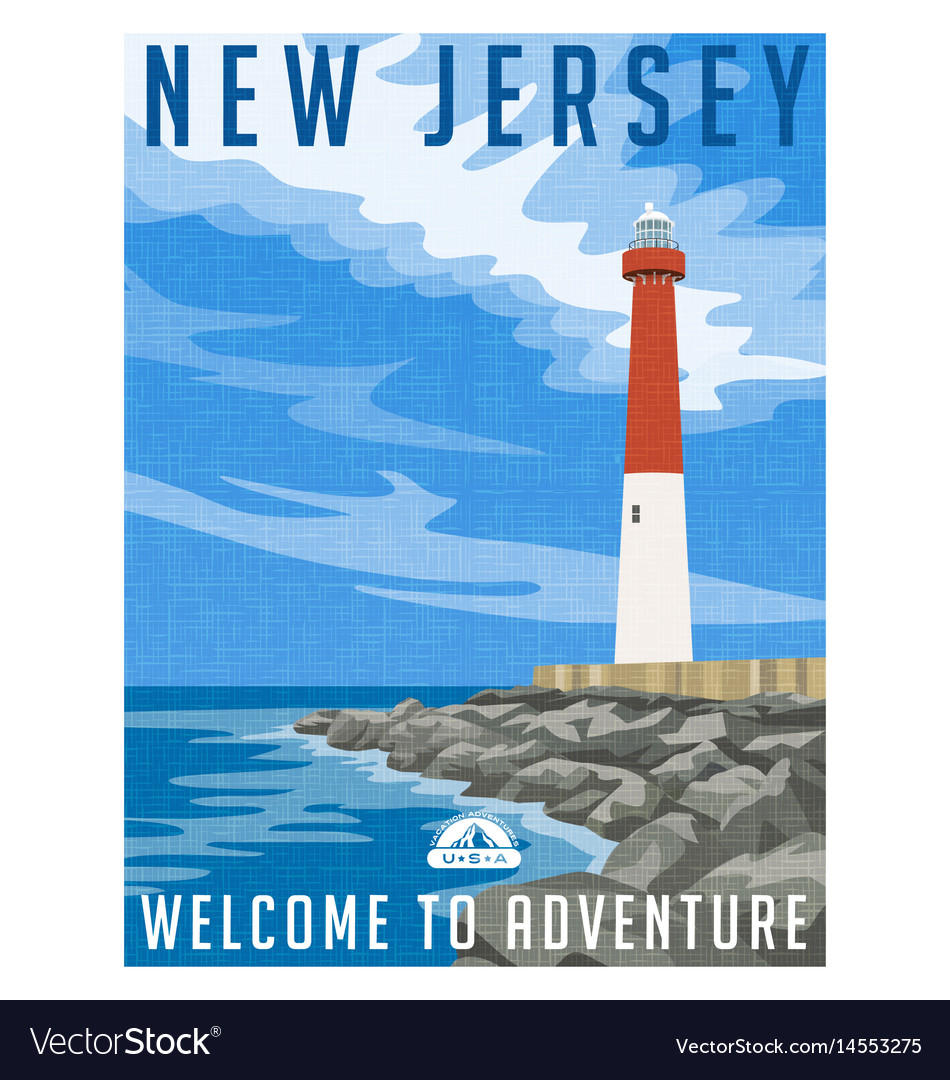 New jersey travel poster vector image