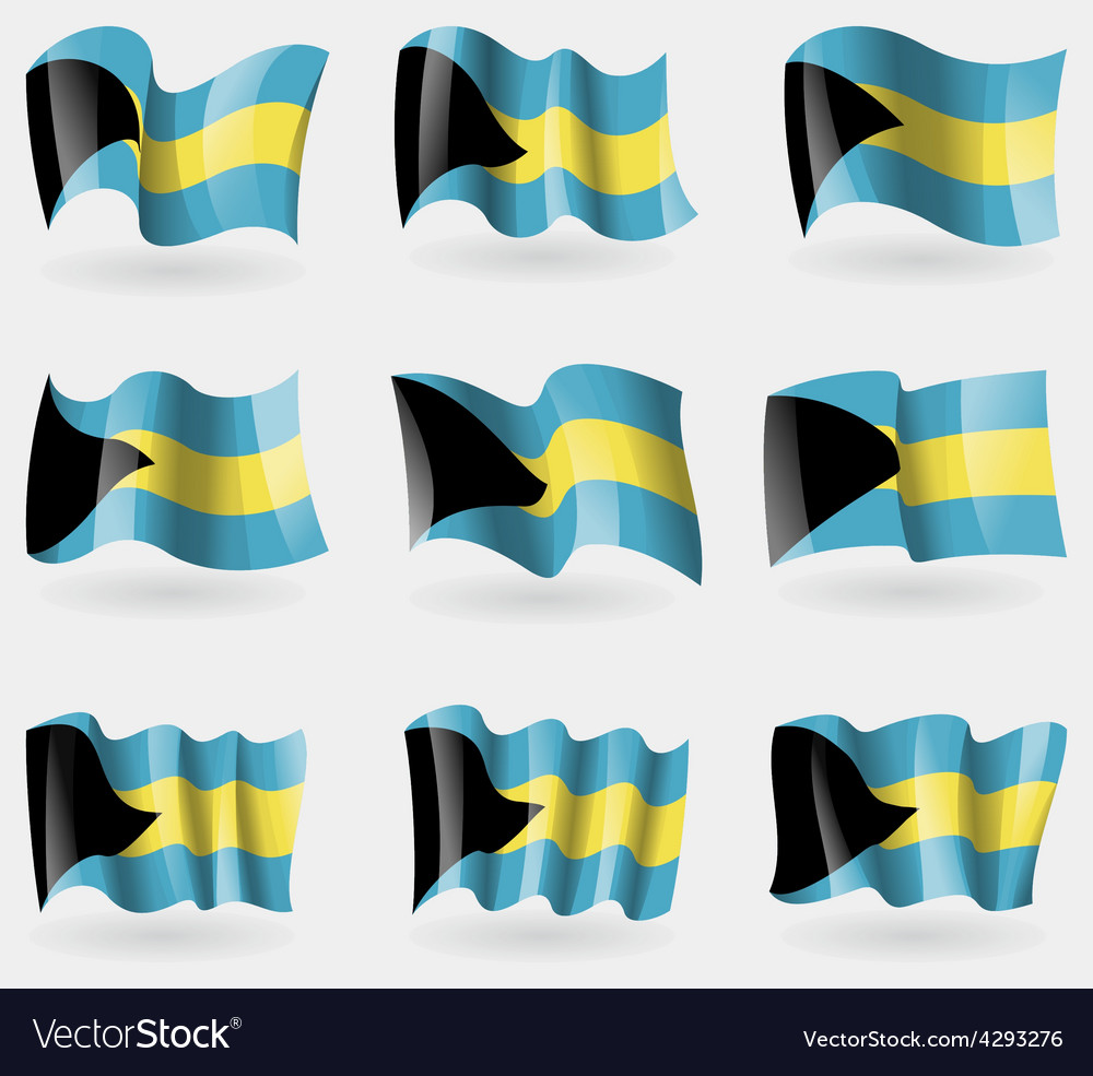 Set of Bahamas flags in the air vector image