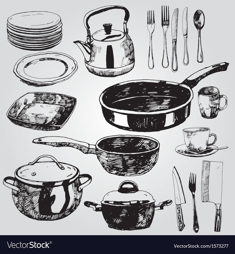 Dishware vector image