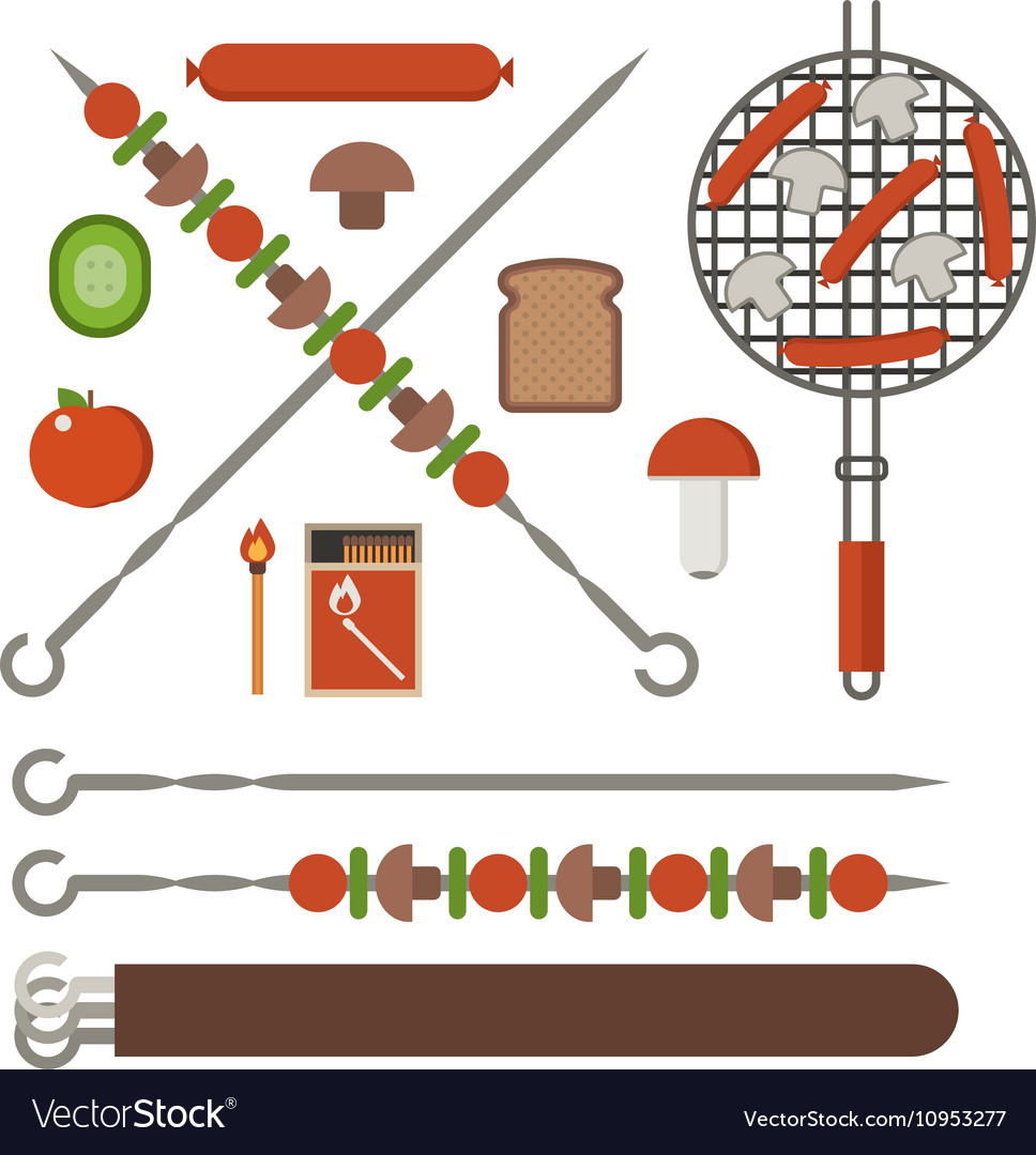 Barbecue Skewer Grill and Vegetables vector image