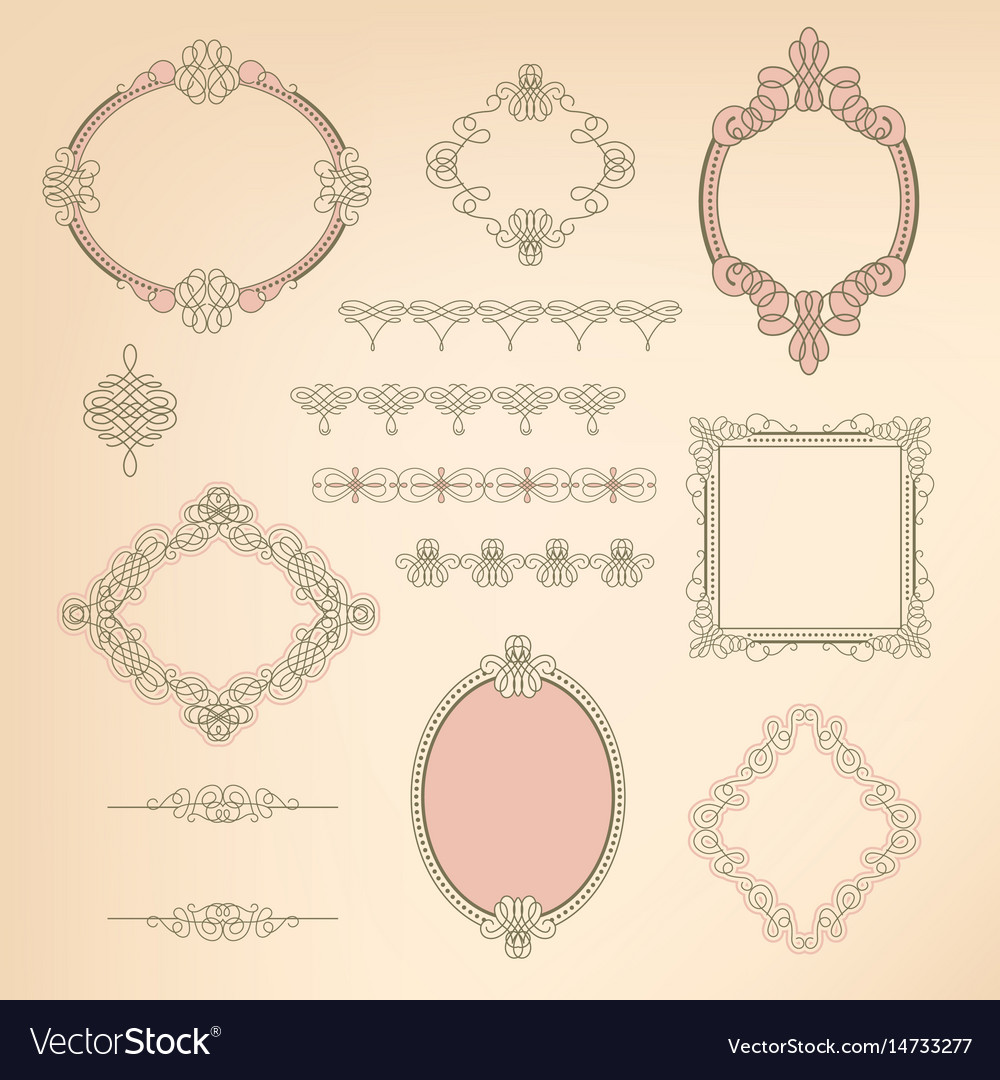Set collection of calligraphic elements frames vector image