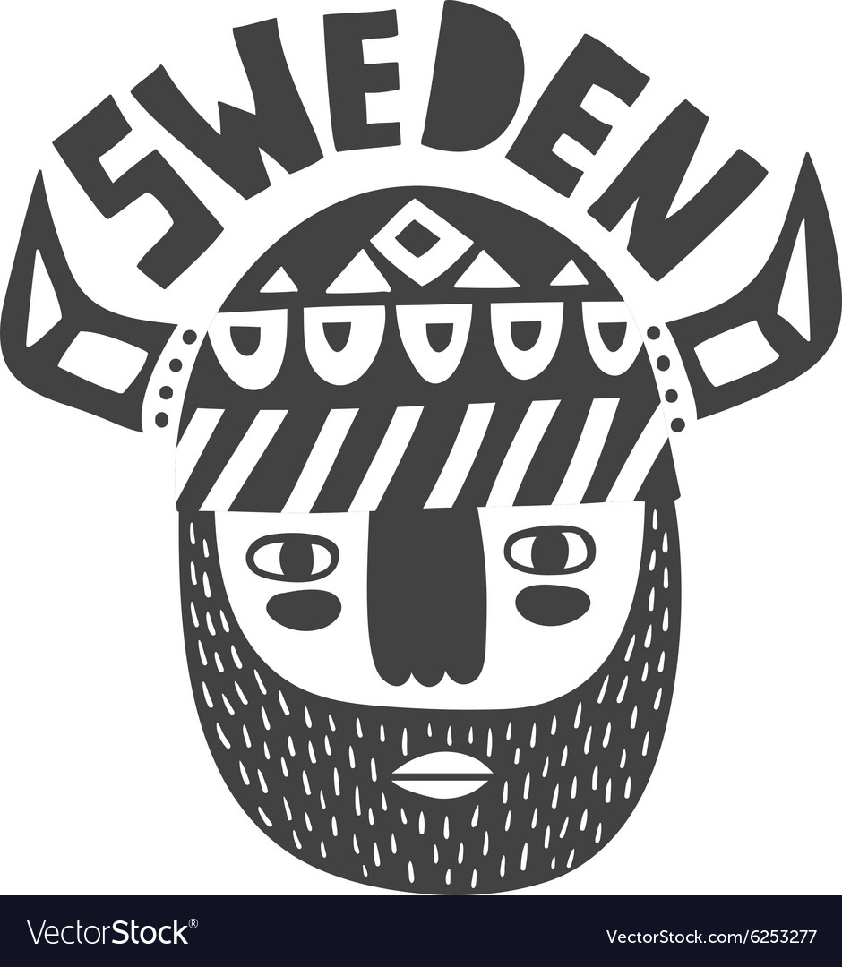 Vikings face in black and white vector image