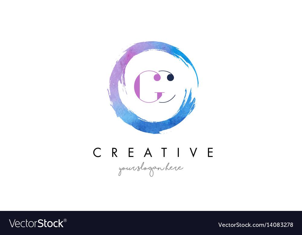 Gc letter logo circular purple splash brush vector image