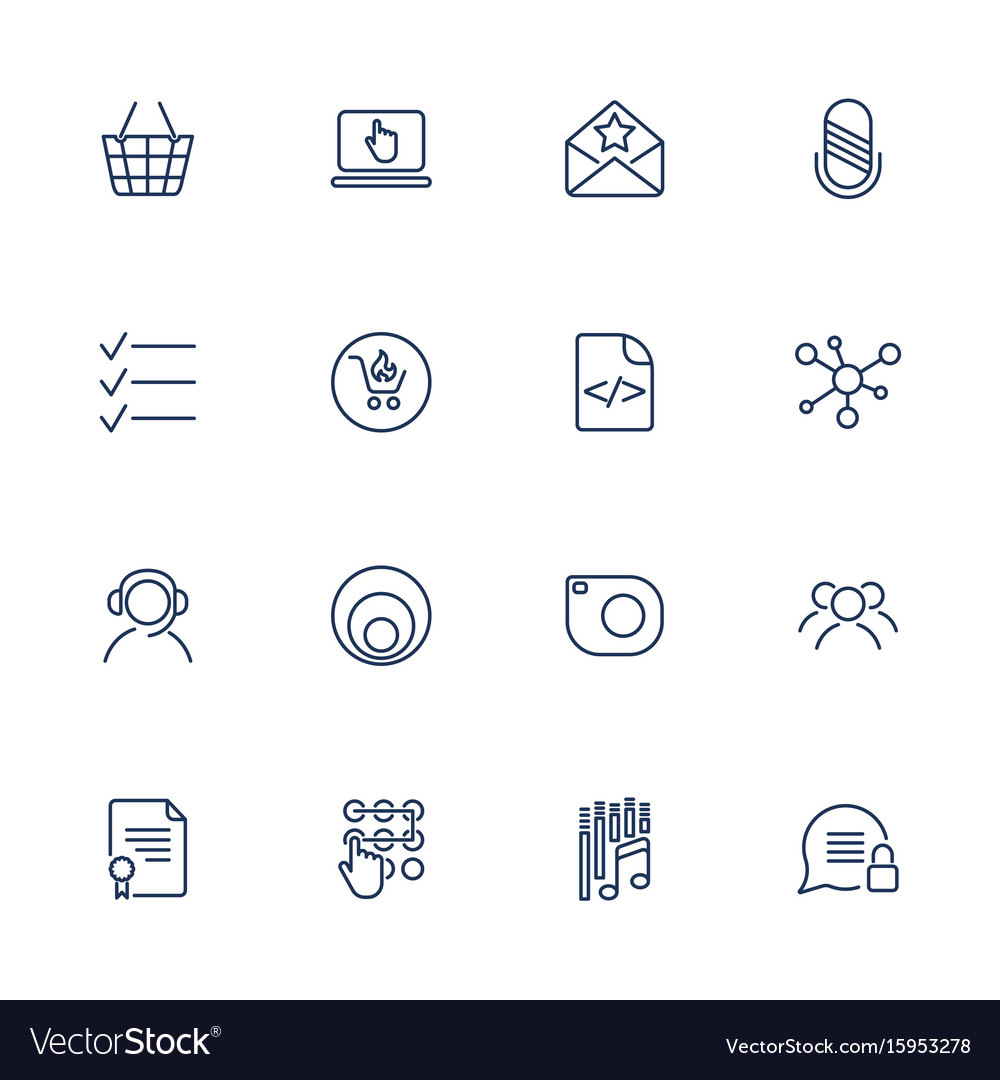 Set of 16 icons for software application vector image
