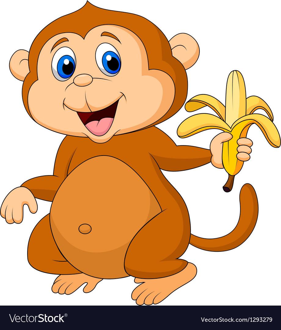 cute monkey cartoon eating banana royalty free vector image