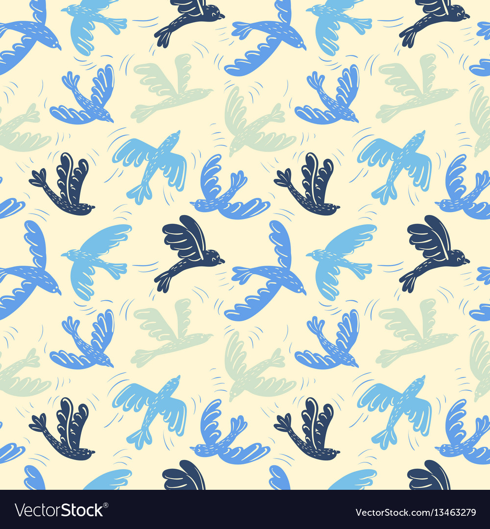 Silhouette flying birds seamless pattern vector image