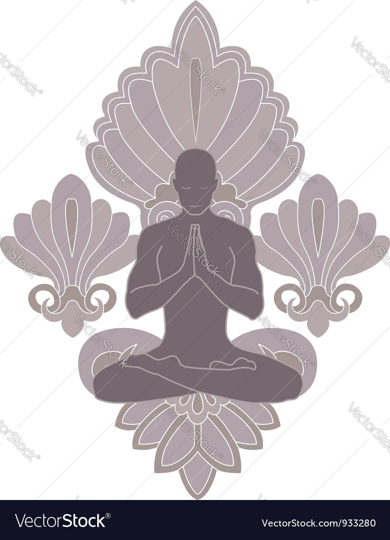 Yoga and pray vector image