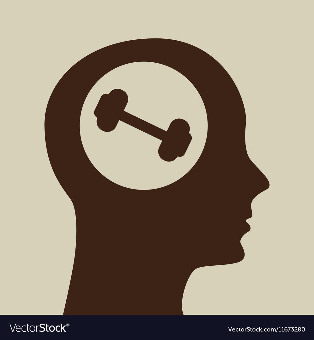 Blue silhouette head barbell icon design vector image
