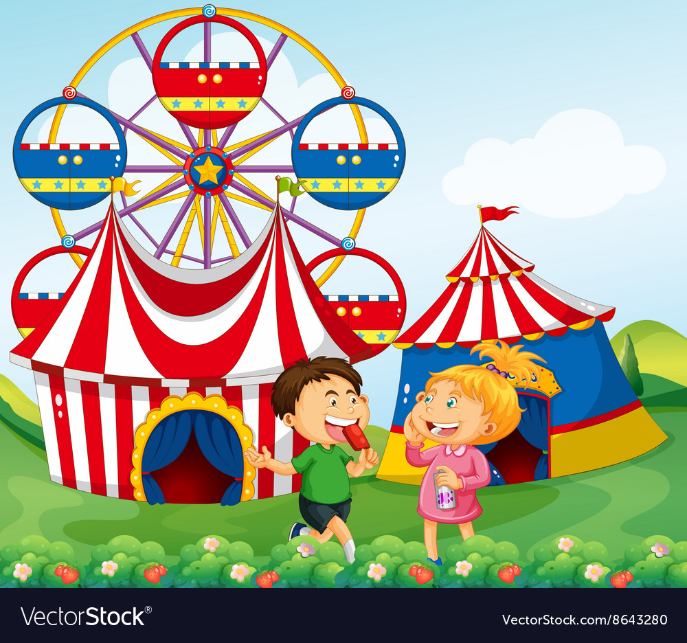 Boy and girl enjoying circus vector image