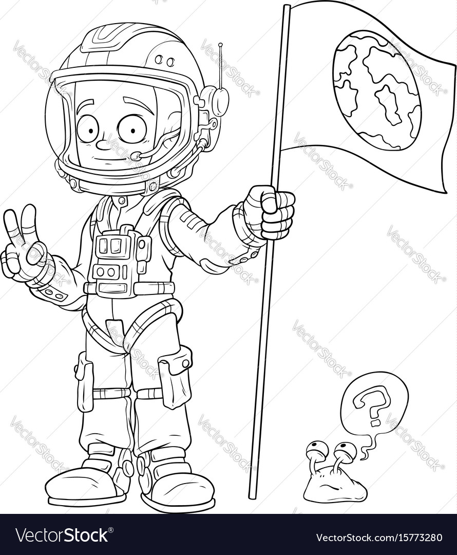 Cartoon astronaut in space suit character vector image