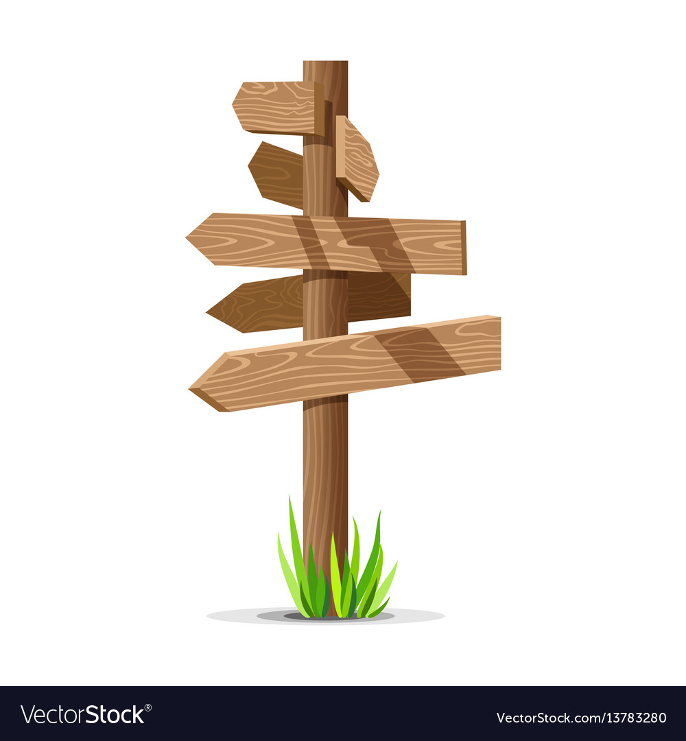 Wooden arrow empty signboard vector image