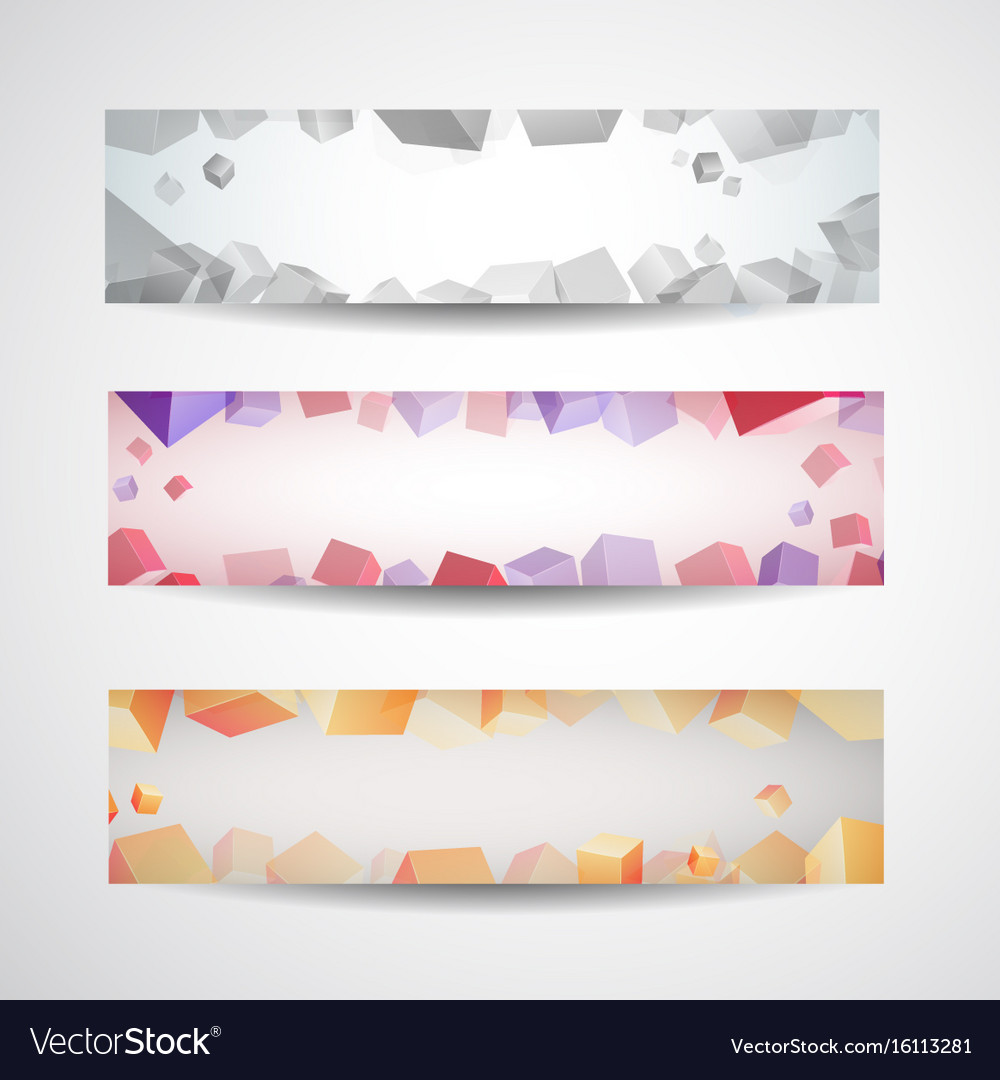 Abstract colored banner set vector image