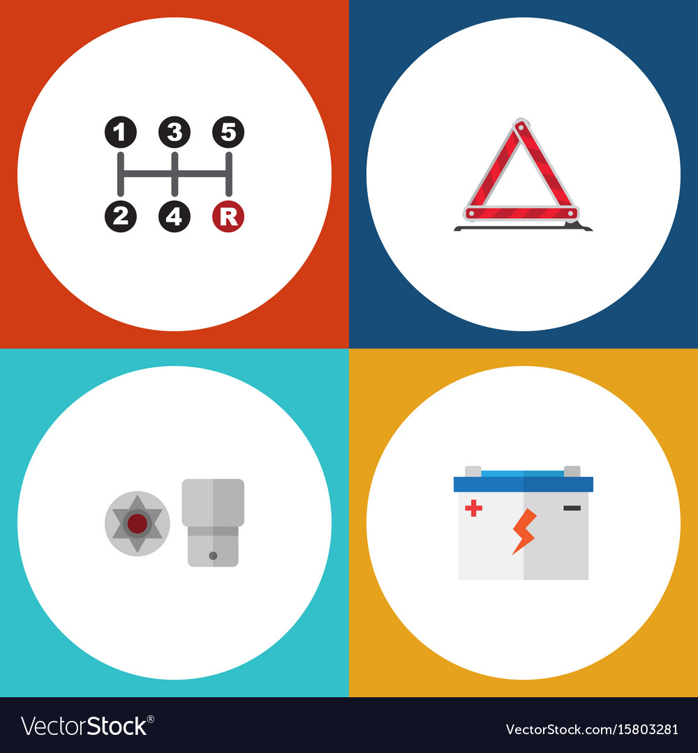 Flat icon auto set of warning accumulator vector image