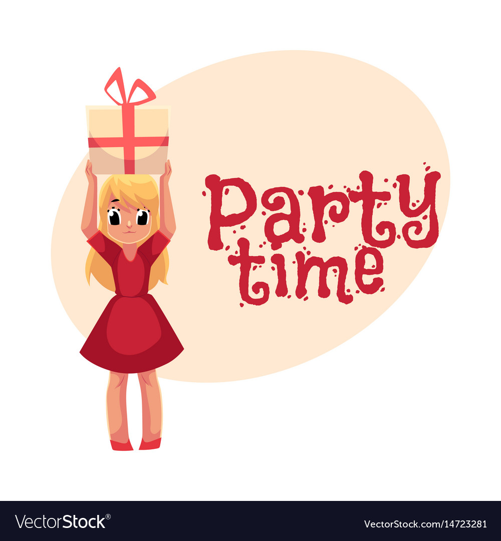 Little girl in red dress holding birthday gift vector image
