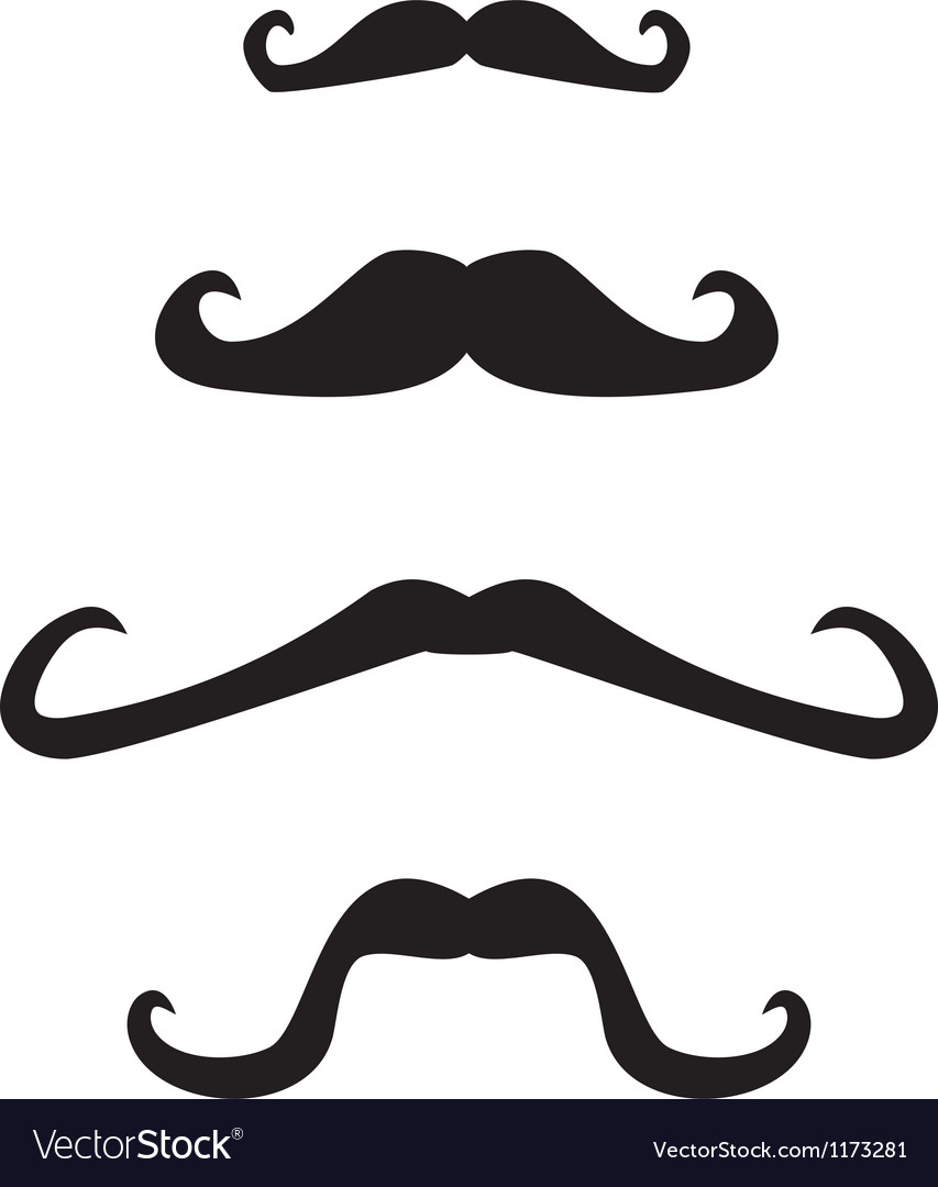 Set of curly vintage retro gentleman mustaches vector image